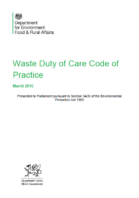 waste duty of care code of practice